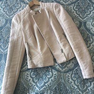 Zara faux leather biker jacket (blush)